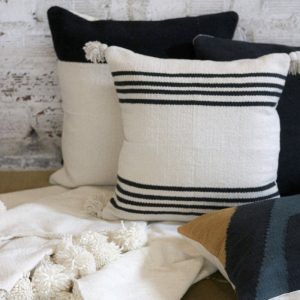 Wool & Indigo Lexington Pom Stripe Pillow