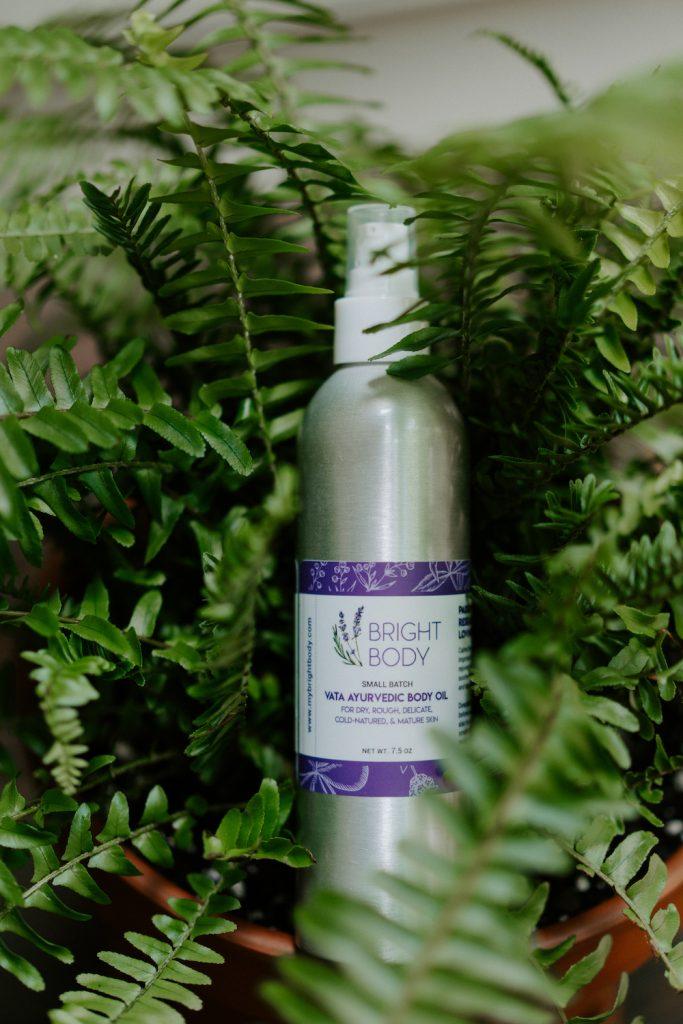 Bright Body Vata Oil in greenery