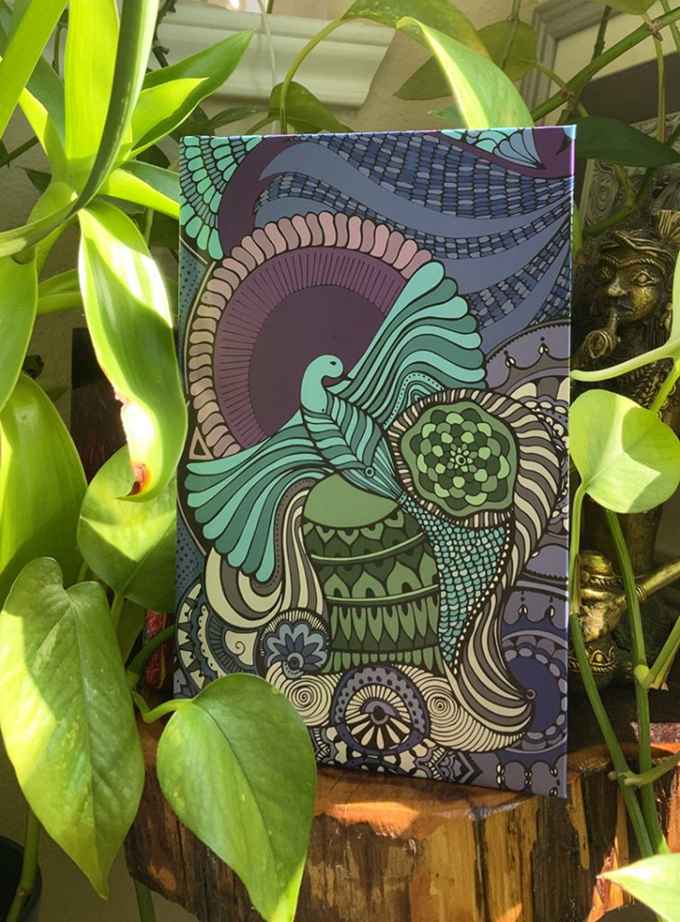 Journal with green bird design on front cover