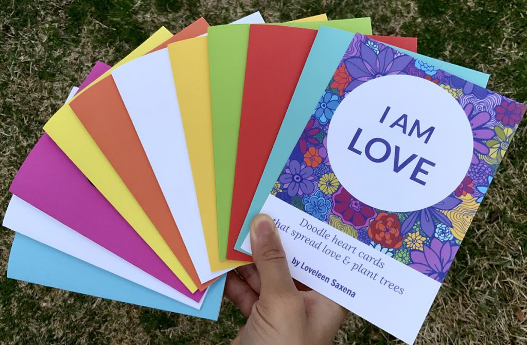 I Am Love colorful doodle heart cards