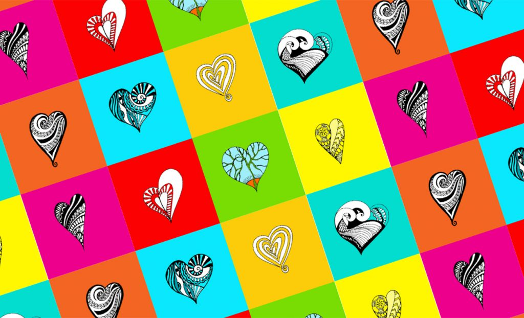 Colorful designed hearts in grid