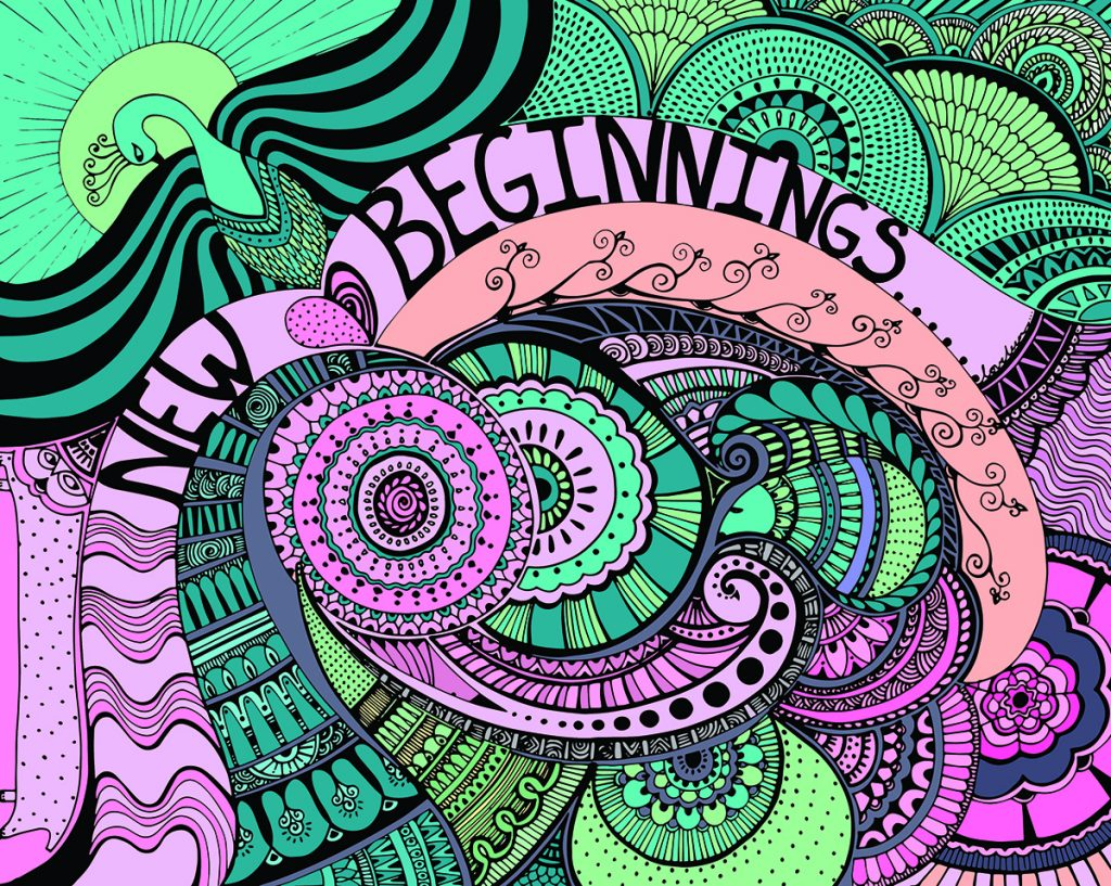 New Beginnings Art Print with green bird and pink, blue, and green swirls